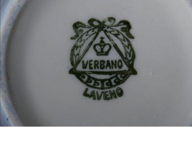 Italian Antonia Campi Tea Set in Porcelain and Gold Laveno 1950