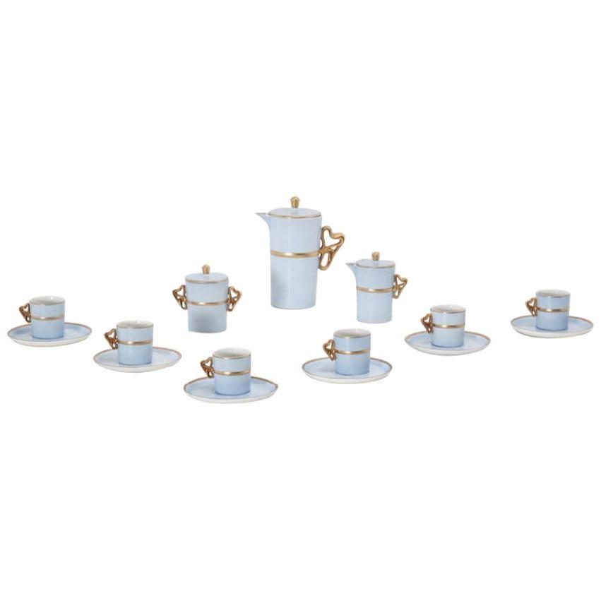 Antonia Campi Tea Set in Porcelain and Gold Laveno 1950