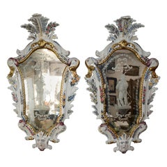 Antonibon Pair of Ceramic Hand Painted Mirrors with Etched Glass