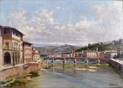 """Florence´s Bridge"", 19th Century Oil on Canvas by Antonietta Brandeis"