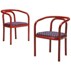 Antonin Suman for Ton Dining Chairs with Red Wooden Frames