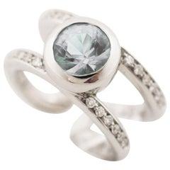 Antonini 18 Karat White Gold Aquamarine Diamond Ring