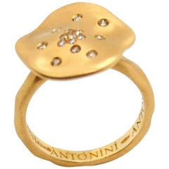 Antonini 18 Karat Yellow Gold Champagne Diamonds Ring