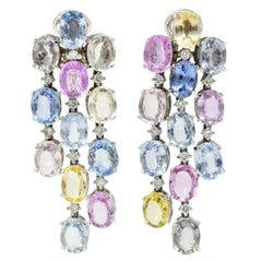 Antonini 32.45 Carat Sapphire Diamond 18 Karat White Gold Chandelier Earrings