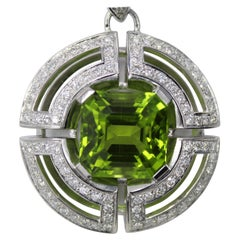 Antonini Gem Peridot Diamond Platinum Pendant Necklace