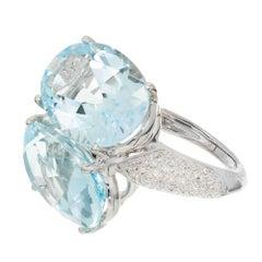 Antonini Panama Double 22.00 Carat Aquamarine Diamond Gold Cocktail Ring