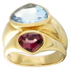 Antonini Topaz and Pink Tourmaline 2-Heart Double Yellow Gold Ring