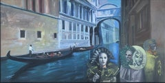 Venice's Carnival oil on canvas painting