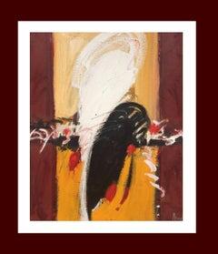 Girona. original abstract mixed media acrylic painting