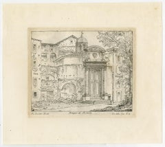Romulus temple - Forum Romanum-Rome by Antonio Aquaroni - Etching - 19th Century
