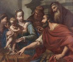 17th Century Antonio Arrigoni Moses Trampling on Pharaoh's Crown Oil on Canvas