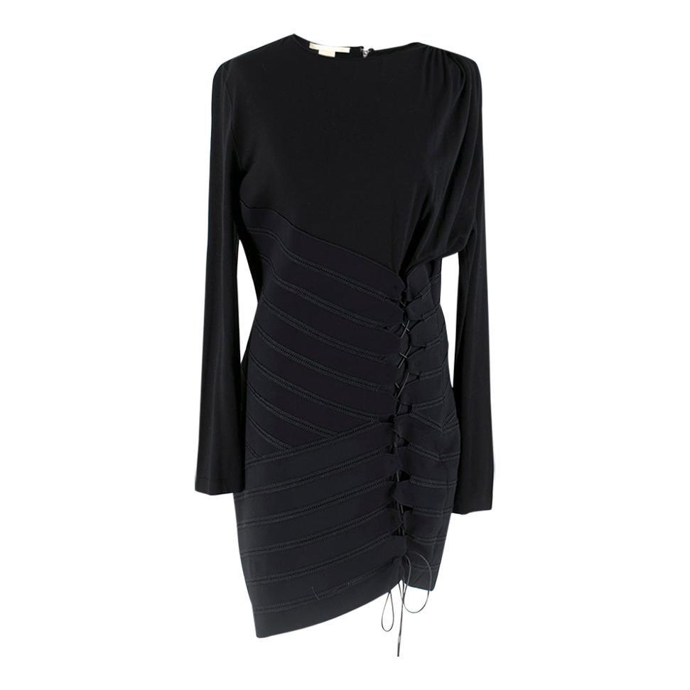 Antonio Berardi Black Draped Lace-Up Asymmetric Dress Size US 8