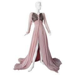 Antonio Berardi Boho Chic Hand Beaded Voluminous Dress Gown  Rare!