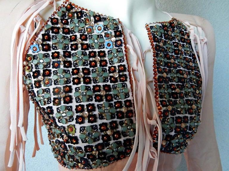 Antonio Berardi Spectacular Boho Chic Beaded Voluminous Dress Gown  Rare! In Excellent Condition For Sale In Los Angeles, CA