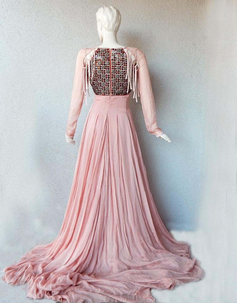 Antonio Berardi Spectacular Boho Chic Beaded Voluminous Dress Gown  Rare! For Sale 3