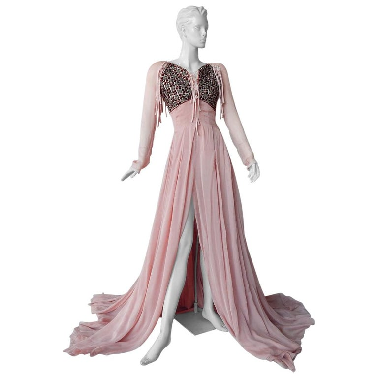 Antonio Berardi Spectacular Boho Chic Beaded Voluminous Dress Gown  Rare! For Sale