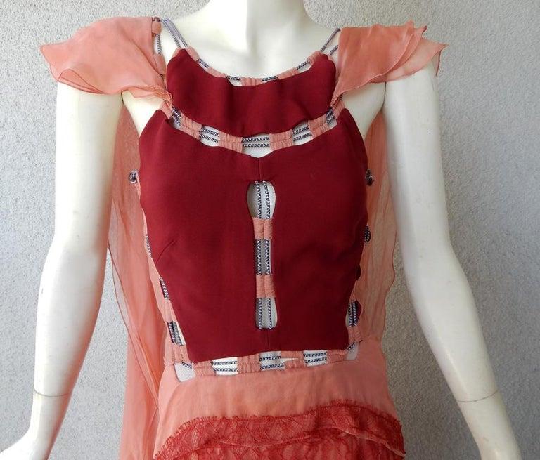Pink Antonio Berardi Stunning Runway Boho Chic Voluminous Dress Gown   New For Sale