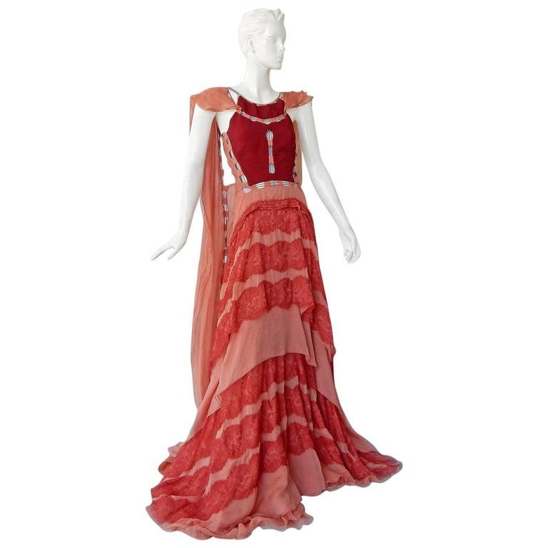 Antonio Berardi Stunning Runway Boho Chic Voluminous Dress Gown   New For Sale
