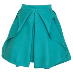 Antonio Berardi Teal Mini Pleat Skirt