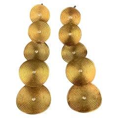 ANTONIO BERNARDO 18k Gold Diamond Circle Drop Earrings