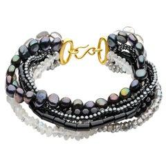 Antonio Bernardo Moonstone Labradorite Spinel Pearl Mix Bracelet