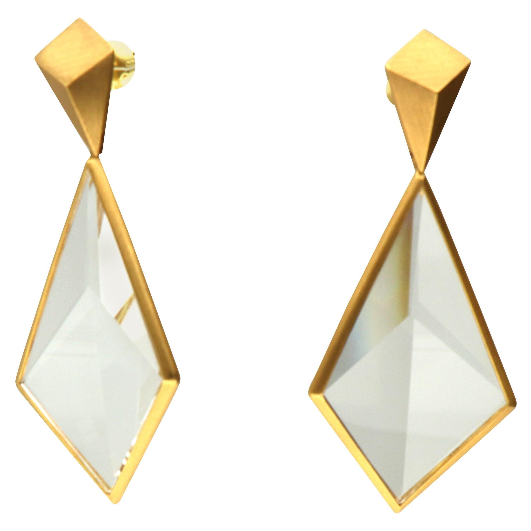 Antonio Bernardo 'Planos' Gold Crystal Quartz Earrings