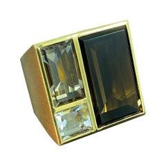Antonio Bernardo Rock Crystal Citrine Smoky Quartz Rose Gold Cocktail Ring