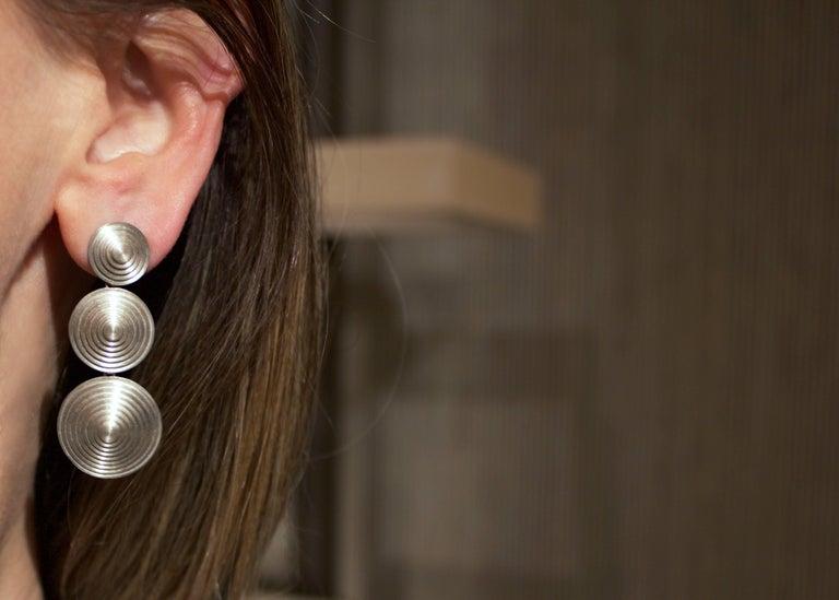 Triple Disc Drop Earrings Handcrafted By Renowned Brazilian Jewelry Artist Antonio Bernardo In Matte Finished