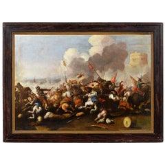 Antonio Calza Italian Oiln on Canvas Battle Between Cavalry Painting