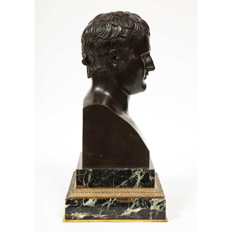 Exquisite French Patinated Bronze Bust of Emperor Napoleon I, after Canova For Sale 13