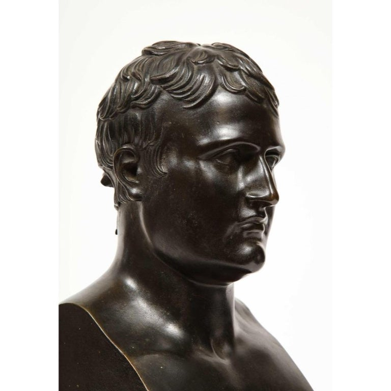Exquisite French Patinated Bronze Bust of Emperor Napoleon I, after Canova For Sale 14