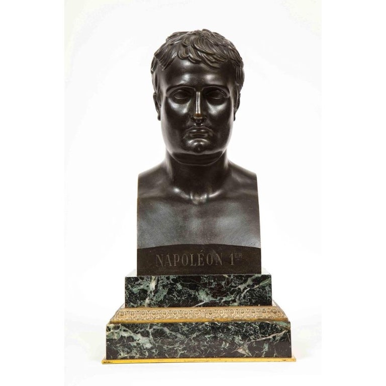 Exquisite French Patinated Bronze Bust of Emperor Napoleon I, after Canova - Sculpture by Antonio Canova