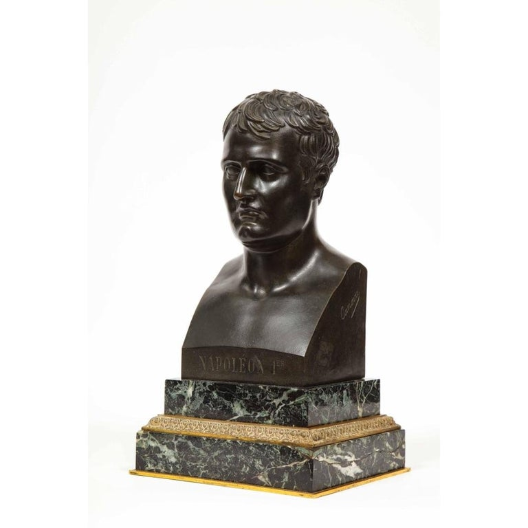 Exquisite French Patinated Bronze Bust of Emperor Napoleon I, after Canova - Gold Figurative Sculpture by Antonio Canova