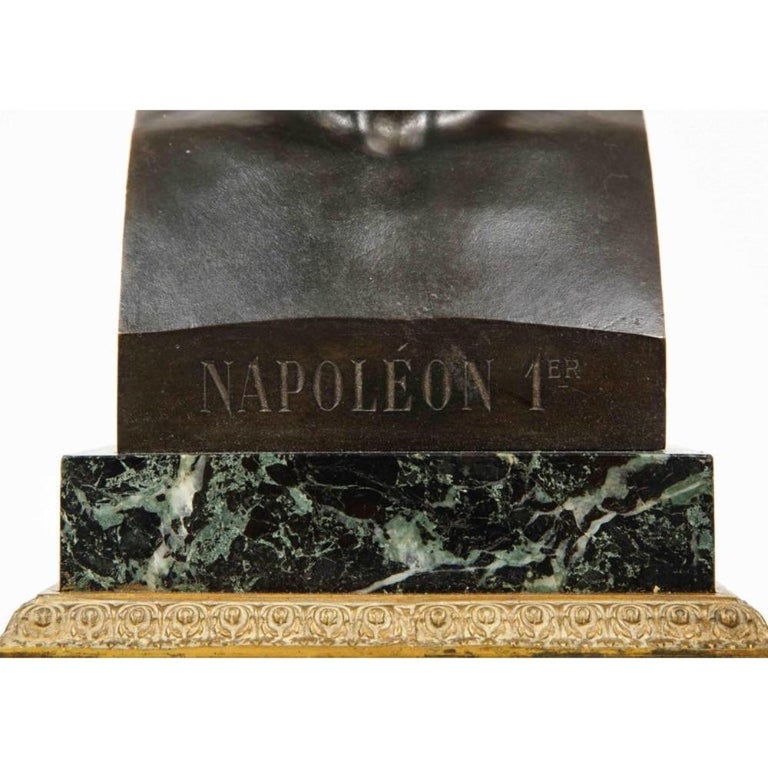 An exquisite French patinated bronze Herm Bust of Emperor Napoleon I, circa 1820 After Canova (1757–1822).    Mounted on a solid square bronze and green marble base. Extremely fine quality sculpture.     Signed Canova and has a foundry mark