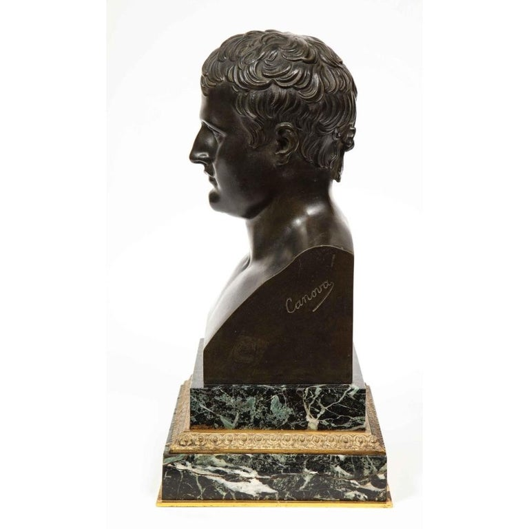 Exquisite French Patinated Bronze Bust of Emperor Napoleon I, after Canova For Sale 5
