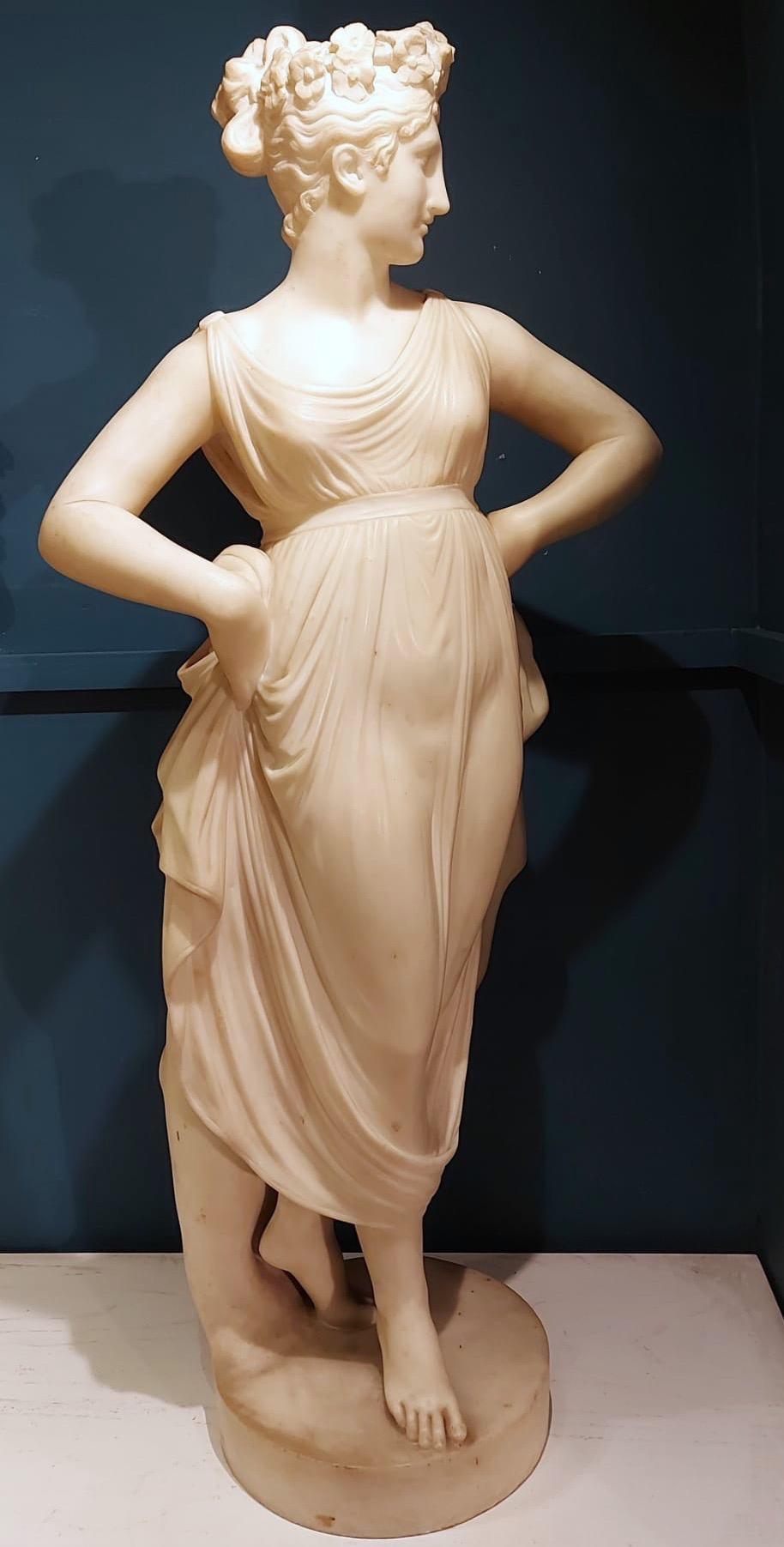 Neoclassical White Marble Sculpture of the DANCER  1870