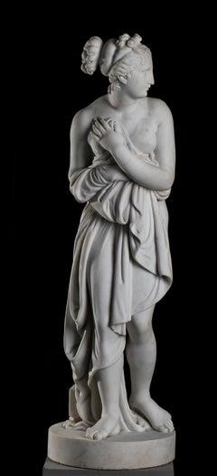 White Statuary Marble Sculpture Venus Italica Signed Canova