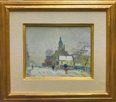Antonio Cirino Winter Street Providence Landscape Oil Painting Salmagundi Club