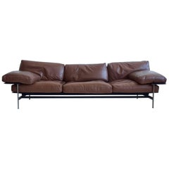Antonio Citterio and Paolo Nava Brown Leather Sofa, Model Diesis