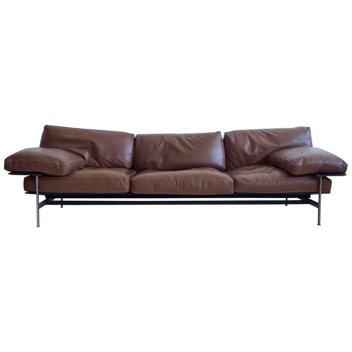 Incroyable Antonio Citterio And Paolo Nava Brown Leather Sofa, Model Diesis