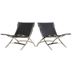 Antonio Citterio Flexform Chrome & Black Leather Timeless Lounge Chairs, a Pair