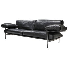 Antonio Citterio for B&B Italia / C&B Italia Black Leather Sofa