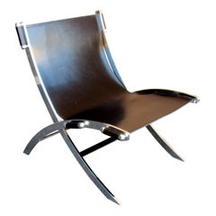 Mid-Century Modern Black Leather Paul Tuttle Sling Chair, 1960s