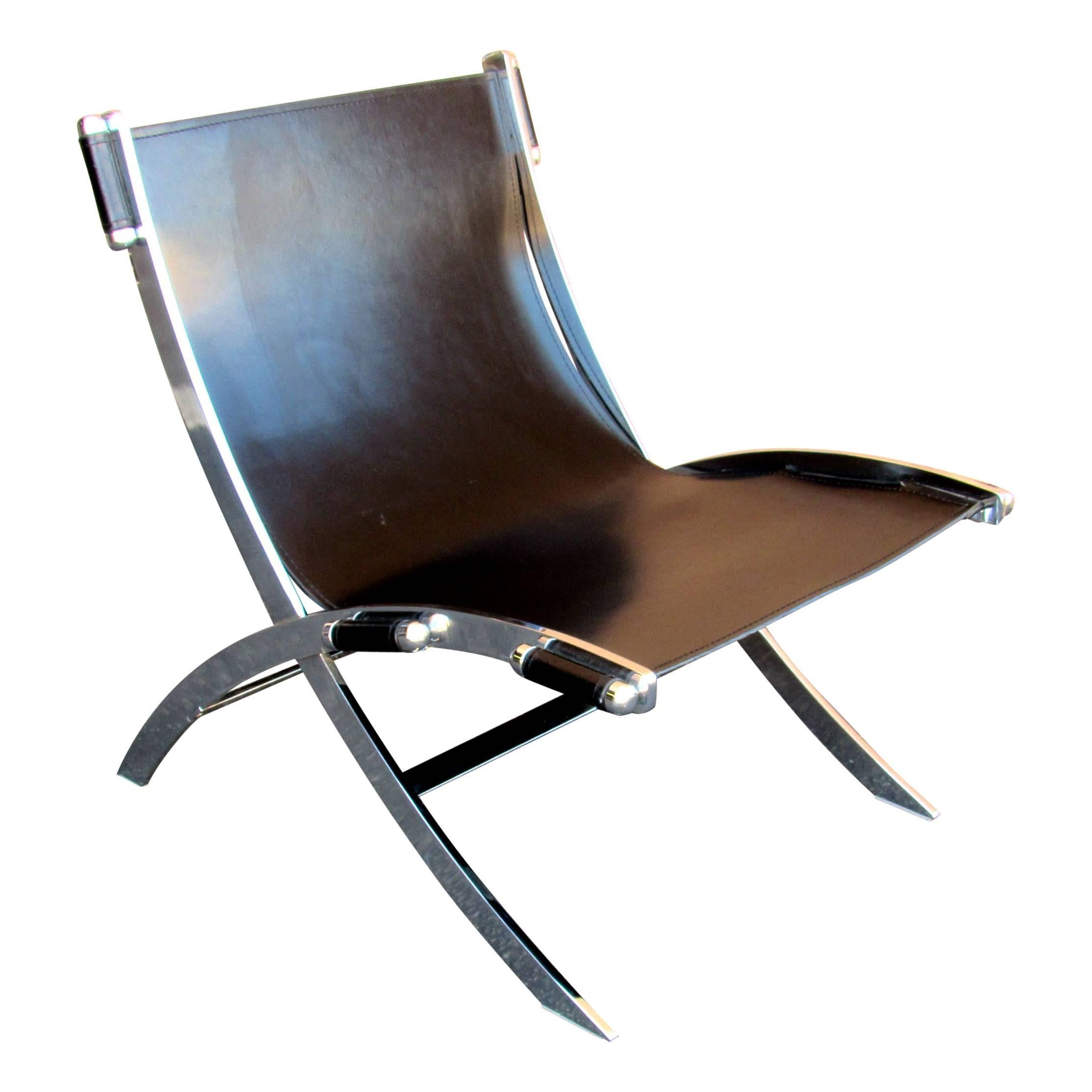 Mid Century Modern Paul Tuttle Steel And Leather Sling Chair For Sale