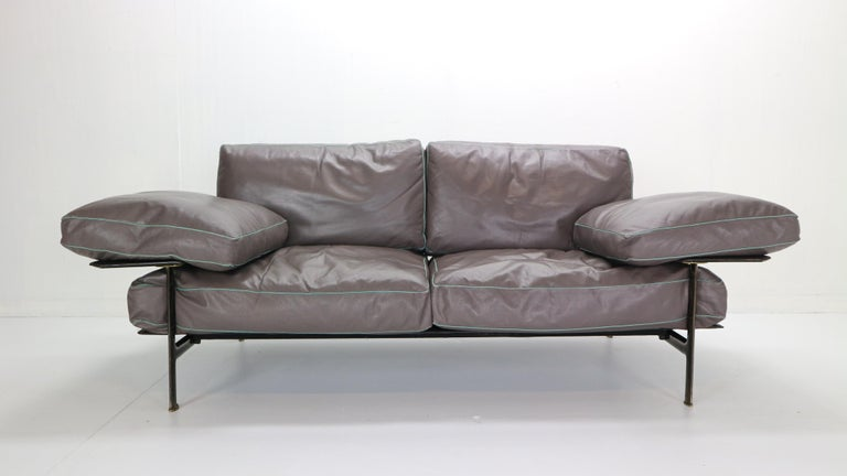Italian Diesis brown leather sofa by Antonio Citterio & Paolo Nava for B&B Italia, 1979. 