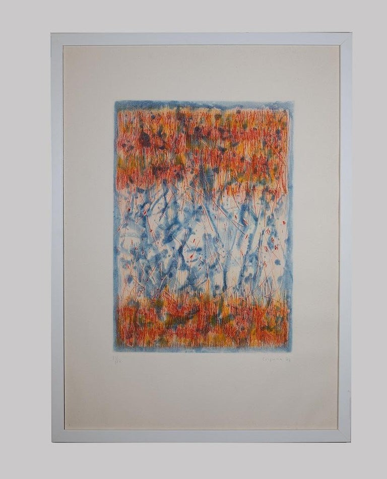 Abstract Composition - Original Etching by Antonio Corpora - 1977 For Sale 1