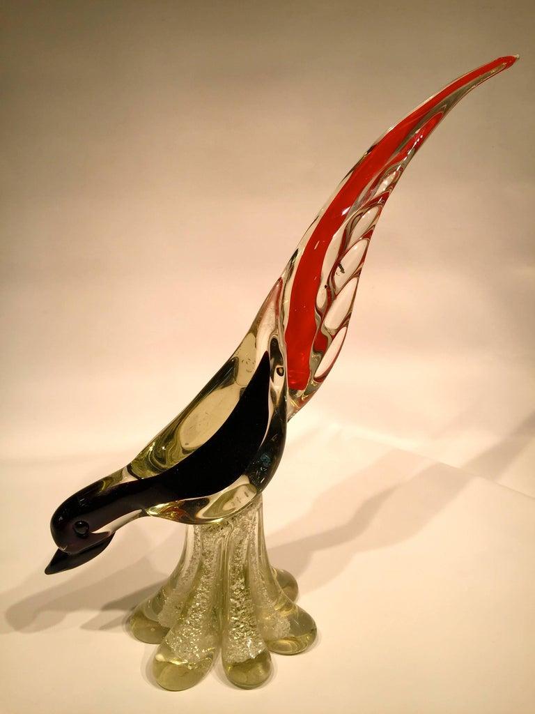 Antonio da Ros 1950 multi-color cock in Murano glass with silver leaf.