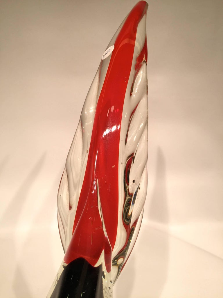 Italian Antonio da Ros 1950 Multi-Color Cock in Murano Glass with Silver Leaf For Sale