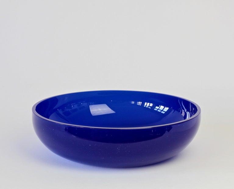 Italian Antonio da Ros 'attributed' for Cenedese Cobalt Blue Colored Murano Glass Bowl For Sale