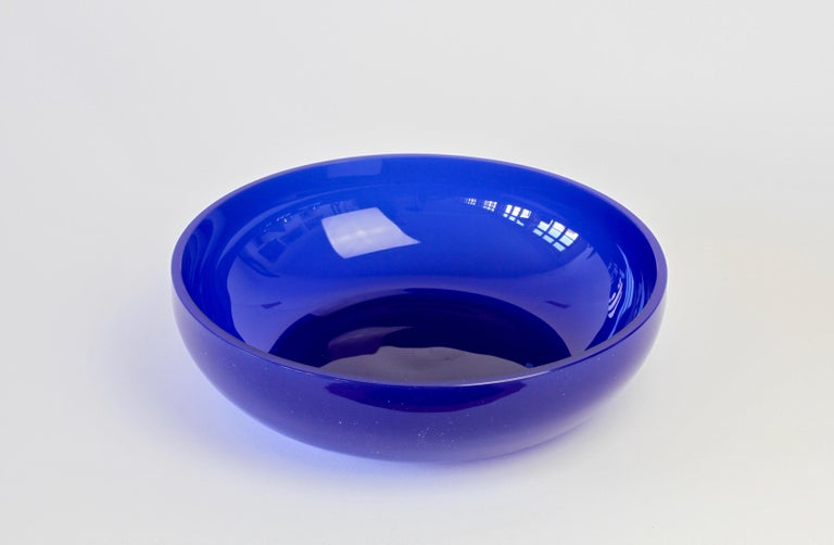Antonio da Ros 'attributed' for Cenedese Cobalt Blue Colored Murano Glass Bowl For Sale 2